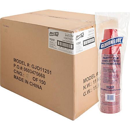 Genuine Joe 16 oz Plastic Party Cups - 50 - 16 fl oz - 1000 / Carton - Red - Plastic - Party, Cold Drink, Beverage
