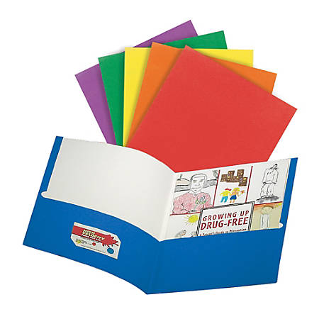 "Office Depot® Brand 2-Pocket Paper Portfolios, 8 1/2"" x 11"", Assorted Colors, Pack Of 10"