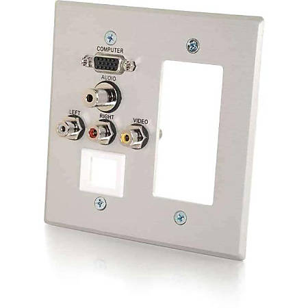C2G VGA, 3.5mm Audio, Composite Video and RCA Stereo Audio Pass Through Double Gang Wall Plate with One Decorative Style Cutout and One Keystone - Brushed Aluminum