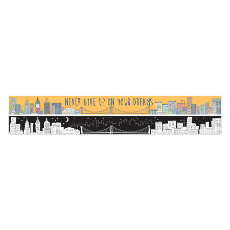 "Barker Creek Double-Sided Straight-Edge Border Strips, 3"" x 35"", Color Me! Cityscape, Pack Of 12"
