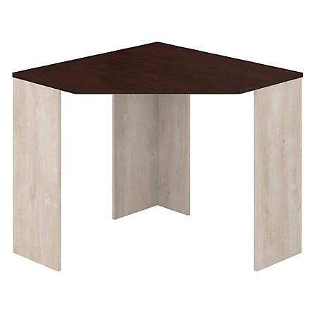 Bush Furniture Townhill Corner Desk, Washed Gray/Madison Cherry, Standard Delivery