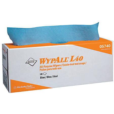 WypAll L40 Wipers, Pop-Up Box, Blue