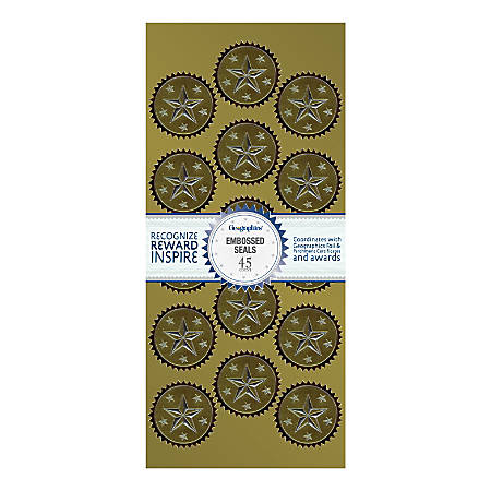 """Geographics® Embossed Award Seals, 1 1/2"""" Diameter, Gold/Silver, Pack Of 45"""