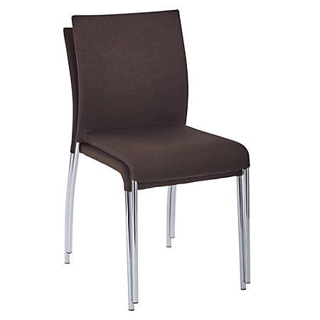 Ave Six Conway Stacking Chairs, Chocolate/Silver, Set Of 2