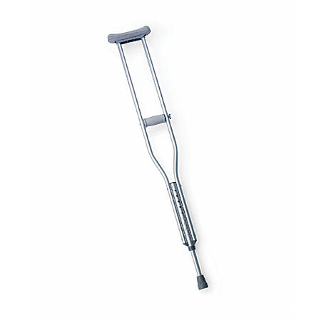 "Medline Push-Button Aluminum Crutches, 54 - 62"", Gray"