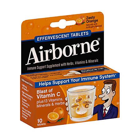 Airborne® Tablets, Orange, Pack Of 10