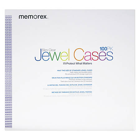 Memorex® Slim CD Jewel Cases, Clear, Pack Of 100