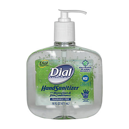 Dial Antibacterial Hand Sanitizers with Moisturizers, 16-oz Pump, Fragrance-Free, Sold as 8 pump bottles per case