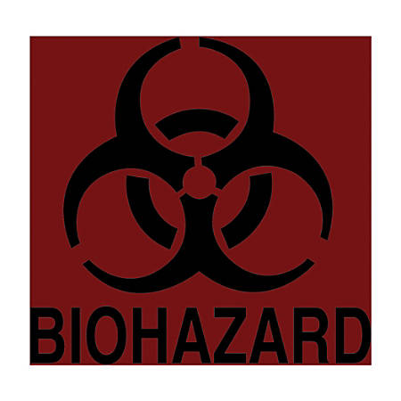 "Rubbermaid Commercial Decal, RCPBP1, BIOHAZARD, Fluorescent Red, 5 3/4"" x 6"", Sold as One Label"