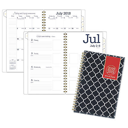 """AT-A-GLANCE® Emma Moroccan Academic Weekly/Monthly Planner, 4 7/8"""" x 8"""", 30% Recycled, Navy/White, July 2018 to June 2019"""