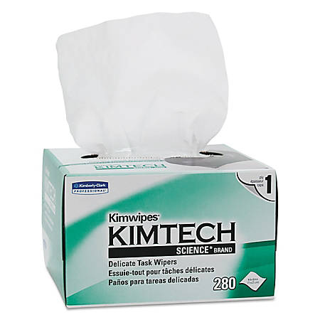 "Kimtech Kimwipes Delicate Task Wipers, Unscented, 4 3/8"" x 8 3/8"", 280 Wipes Per Box, Case Of 60 Boxes"