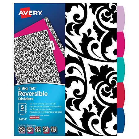 "Avery® Big Tab® Write-On™ Reversible/Erasable Dividers, 8 1/2"" x 11"", Black/White"