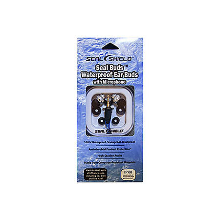 Seal Shield Seal Buds Waterproof Earbud Headphones, Blue/Silver