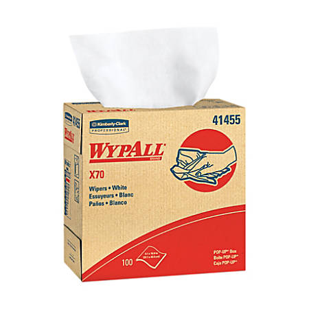 "Wypall X70 Wipers Pop-up Box - 9.10"" x 16.80"" - White - Hydroknit - Durable, Absorbent, Strong, Reusable, Embossed - For Multipurpose - 100 Quantity Per Box - 100 / Box"
