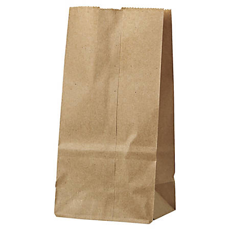 "General Supply Natural Paper Grocery Bags, #2, 30 Lb, 7 7/8"" x 4 5/16"" x 2 7/16"", Kraft, Case Of 500"
