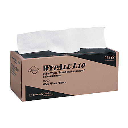 WYPALL L10 Utility Wipes, Box, 12 inches x 10-1/2 inches, White, 18 boxes of 125 wipers per Case, Sold by the Case