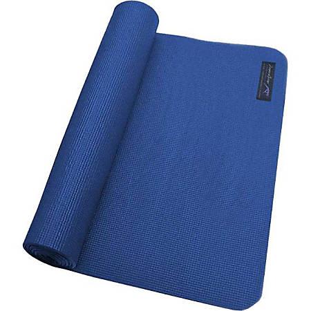 """Zenzation Athletics Premium WTE10002 Yoga Mat - Gym, Studio - 68"""" Length x 24"""" Width x 0.25"""" Thickness - Polyvinyl Chloride (PVC), Cotton - Blue"""