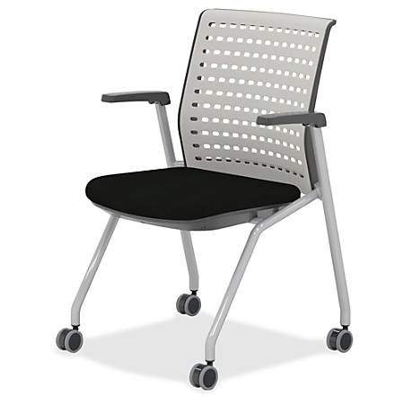 """Mayline Thesis - Static Back, Arms - Gray Seat - Poly Light Gray Back - Gray Frame - Four-legged Base - 18.25"""" Seat Width x 17.50"""" Seat Depth - 22.3"""" Width x 22.5"""" Depth x 33"""" Height"""