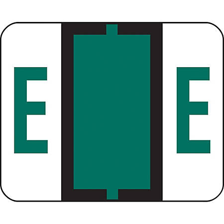 Smead® BCCR Bar-Style Permanent Alphabetical Labels, E, Dark Green, Roll Of 500