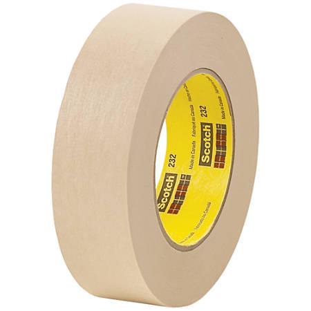 "3M™ 232 Masking Tape, 3"" Core, 1.5"" x 180', Tan, Case Of 12"