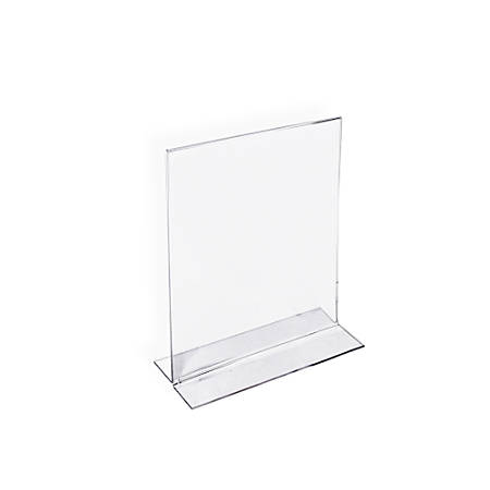 """Azar Displays Double-Foot Acrylic Sign Holders, 7"""" x 5"""", Clear, Pack Of 10"""