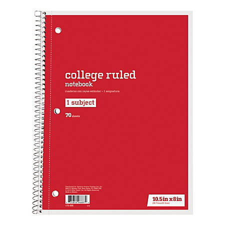 "Just Basics® Spiral Notebook, 7 1/2"" x 10 1/2"", College Ruled, 140 Pages (70 Sheets), Red"