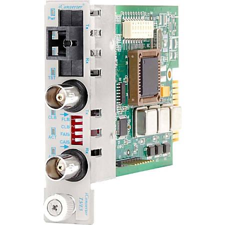 iConverter T3/E3 Single-Fiber Media Converter Coaxial SC Single-mode 40km BiDi Module - 1 x T3/E3/DS-3; 1 x SC Single-mode Single-Fiber (1550/1310); Internal Module; Lifetime Warranty