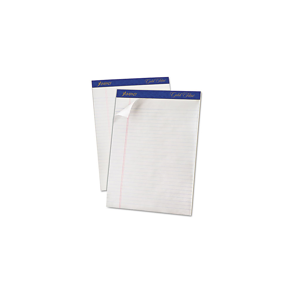"""TOPS Gold Fibre Ruled Perforated Writing Pads - Letter - 50 Sheets - Watermark - Stapled/Glued - 0.34"""" Ruled - 16 lb Basis Weight - 8 1/2"""" x 11"""" - Dar"""