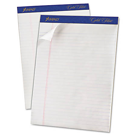 """TOPS Gold Fibre Ruled Perforated Writing Pads - Letter - 50 Sheets - Watermark - Stapled/Glued - 0.34"""" Ruled - 16 lb Basis Weight - 8 1/2"""" x 11"""" - Dark Blue Binder - Bleed-free, Micro Perforated, Chipboard Backing - 12 / Dozen"""