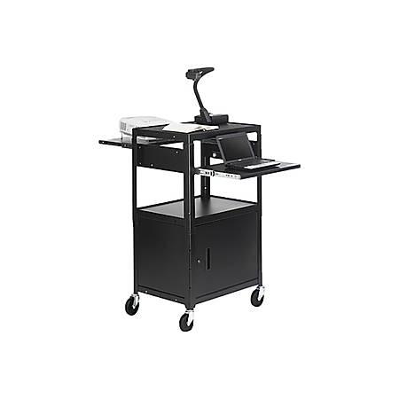 "Bretford CA2642DNS-E5 Multimedia Cabinet Cart - Up to 20"" Screen Support - 3 x Shelf(ves) - Hinged Door - 43"" Height x 24"" Width x 18"" Depth - Steel - Black"