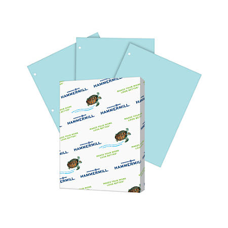 Hammermill® Fore Multipurpose Paper, Letter Size Paper, 20 Lb, Pastel Blue, 500 Sheets Per Ream, Case Of 10 Reams