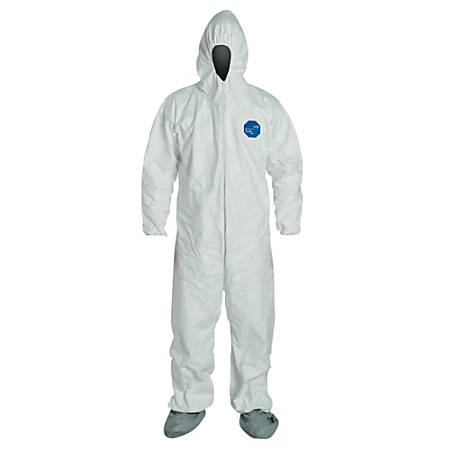 DuPont™ Tyvek® Coveralls With Attached Hood And Boots, 5X, White, Pack Of 25 Coveralls
