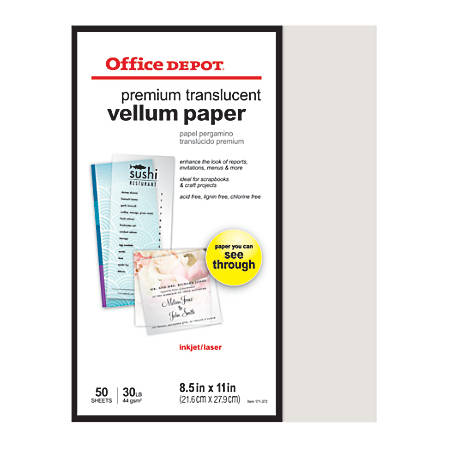 "Office Depot® Brand Premium Translucent Vellum Paper, 8 1/2"" x 11"", 30 Lb, Pack Of 50 Sheets"