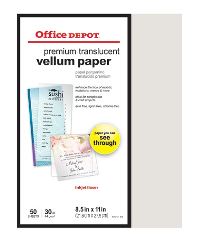 Office depot brand premium translucent vellum paper 8 12 x 11 30 lb office depot brand premium translucent vellum paper 8 12 x 11 30 lb pack of 50 sheets by office depot officemax colourmoves