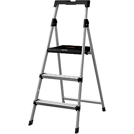 "Louisville 3' Steel Step Stool with Slots - 3 Step - 225 lb Load Capacity36"" - Aluminum"