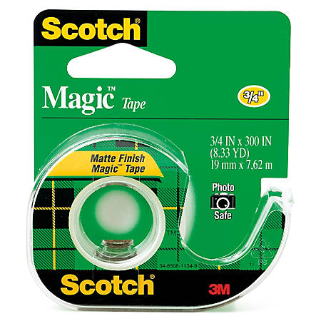"""Scotch® Magic™ Tape In Dispenser, 3/4"""" x 300"""", Clear"""