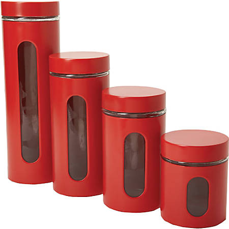 Anchor Hocking 4 Pc. Palladian Cherry Window Cylinder Set - 24 fl oz Food Canister, 1.1 quart Food Canister, 1.4 quart Food Canister, 2 quart Food Canister