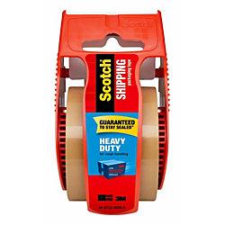 "Scotch® Heavy-Duty Shipping Tape With Dispenser, 2"" x 22.2 Yd., Tan"