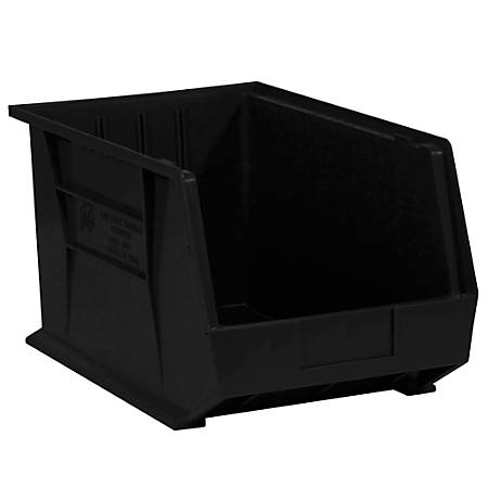 """Office Depot® Brand Plastic Stack And Hang Bin Boxes, 10 3/4"""" x 8 1/4"""" x 7"""", Black, Pack Of 6"""