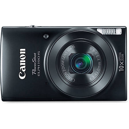 "Canon PowerShot 190 IS 20 Megapixel Compact Camera - Black - 2.7"" LCD - 10x Optical Zoom - 4x Digital Zoom - Optical (IS) - 5152 x 3864 Image - 1280 x 720 Video - HD Movie Mode - Wireless LAN"