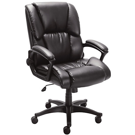realspace caldina ii bonded leather mid back chair black by office