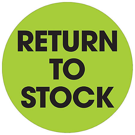 """Tape Logic® Preprinted Special Handling Labels, DL1247, Return To Stock, Round, 2"""", Fluorescent Green, Roll Of 500"""