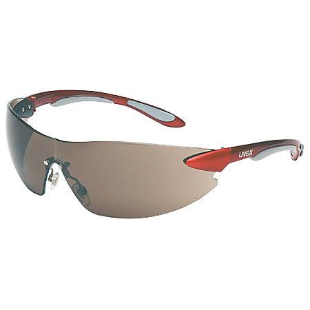 Ignite Eyewear, Gray Lens, Polycarbonate, Hard Coat, Metallic Red/Silver Frame