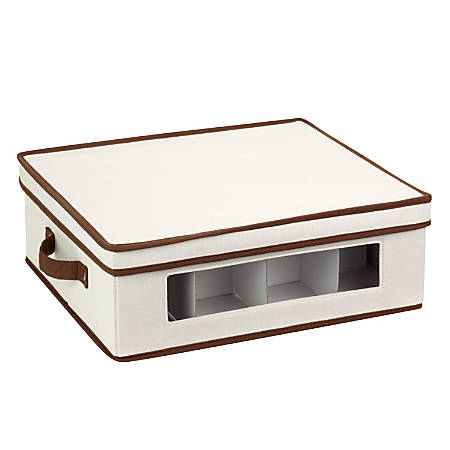 "Honey-Can-Do Canvas Dinnerware Storage Box, Large, 5 3/4""H x 14""W x 16 1/4""D, Brown/Natural"
