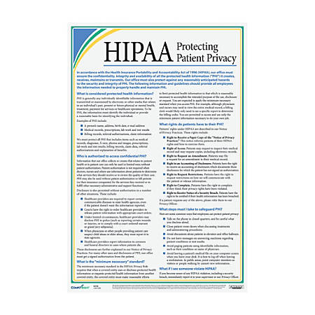 """ComplyRight HIPAA Protecting Patient Privacy Poster, 12"""" x 18"""""""