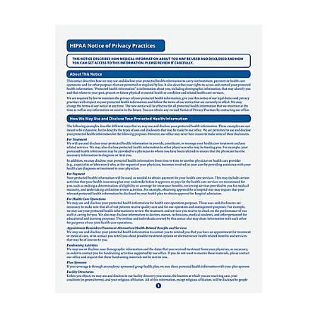 "ComplyRight HIPAA Notice Of Privacy Practices Forms, 8 1/2"" x 11"", Pack Of 100"