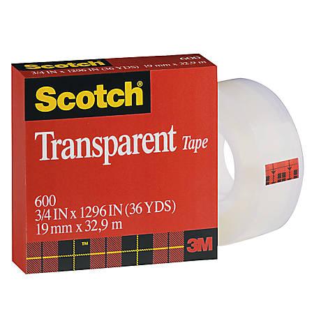 """Scotch® Transparent Tape, 3/4"""" x 1,296"""", Clear"""