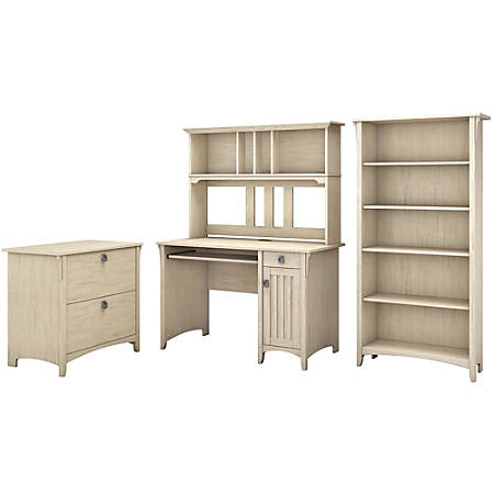 Bush Furniture Salinas Mission Desk With Hutch Lateral File Cabinet And 5 Shelf Bookcase Antique White Standard Delivery Item 172508