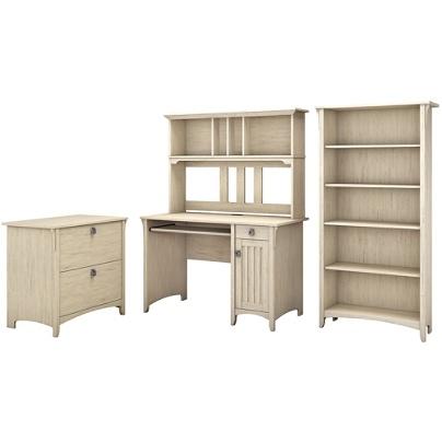 Prime Bush Furniture Salinas Mission Desk With Hutch Lateral File Cabinet And 5 Shelf Bookcase Antique White Standard Delivery Item 172508 Download Free Architecture Designs Momecebritishbridgeorg
