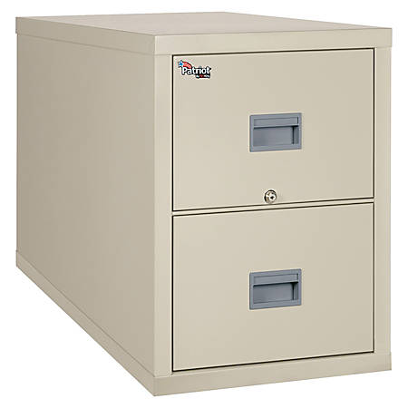 """FireKing® Patriot Series 31 5/8""""D Vertical Legal-Size File Cabinet, 2 Drawers, Parchment, White Glove Delivery"""